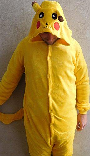 Tragen Pikachu Kostüm (Ganzkörperkostüm Kostüm Fasching aus Fleece mit Kapuze in gelb für Erwachsene Größe)