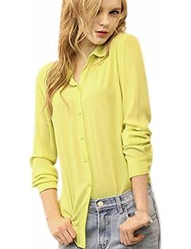 Fuxiang Blusas Mujer Gasa Camisetas Camisas Manga Larga Blusa Camisa Cuello V Shirt Casual Camiseta Top Señoras...
