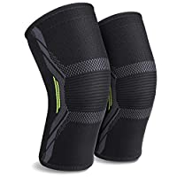 2 Pack Knee Brace Knee Support Sleeves of 3D Flexible Breathable Knitting and Double Anti-Slip Silicone Gel Sweat Absorbing for Men or Women MUBYTREE (M)