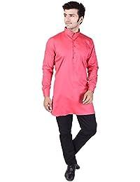 Veera Paridhaan Men's Solid Pink Cotton Kurta