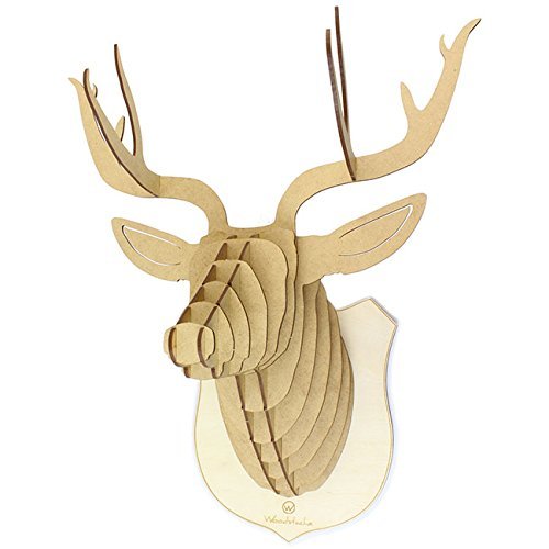 Woodstache - FR - Wireless - Hybrid DCERFG Tête de cerf en Bois Grand modèle, Marron, 66 x 57 x 39 cm