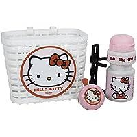 Hello Kitty - Lote de cesta, botella de agua y timbre para bicicleta