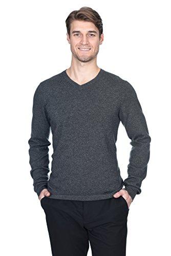 STATE FUSIO langärmliger Wollpullover für Herren mit V-Ausschnitt, Premium-Qualität Holzkohle