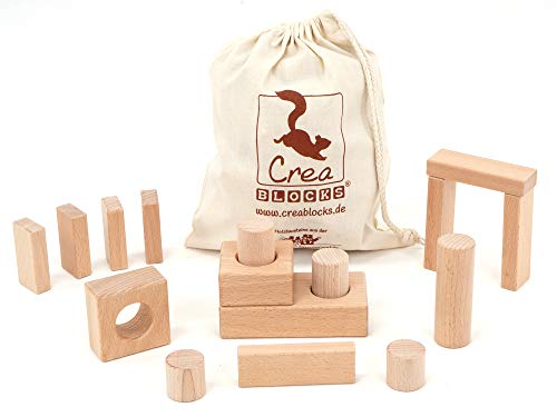 Holzbausteine Motorik-BabyPack 16 unbehandelte Bauklötze für Kleinkinder (im Baumwollbeutel) Made in Germany