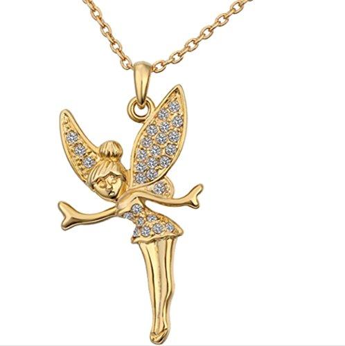 Collar de oro con diseño de hada, bañado en oro de 18 K, diseño de campanilla de disney, viene en caja, perfecto para regalar