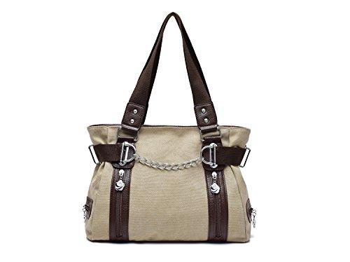 Spalla Da Donna- tela-Borse della borsa delle signore Crossbody Totes Vintage borsa ,Hobo Borse Donna e Uomo da Spalla Borsa Tela College Stile Cachi