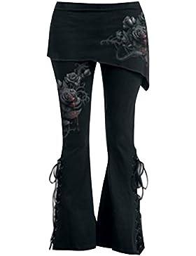 Mujer Cintura Alta Pantalones - Moda Retro Gótico Elástico Jeggings con Minifaldas Floral Impreso Vendaje Pantalones...