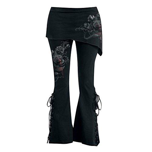 Übergrößen Hosen Damen Hosen Gothic Jeggings Mini Röcke Hosen Hohe Taille Hosen Vintage Schwarz Leggings Verband Asymmetrische Röcke Flare Hosen M L XL 2XL 3XL 4XL 5XL Mxssi