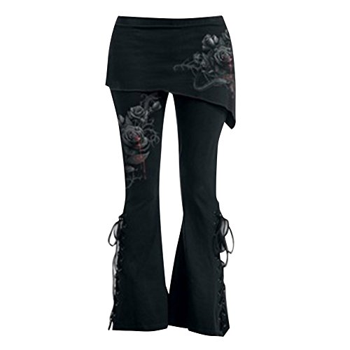 Übergrößen Hosen Damen Hosen Gothic Jeggings Mini Röcke Hosen Hohe Taille Hosen Vintage Schwarz Leggings Verband Asymmetrische Röcke Flare Hosen M L XL 2XL 3XL 4XL 5XL Mxssi (Baumwoll-vintage-leggings)