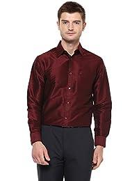242236c7f58685 Khoday Williams Men s Poly Silk Plain Solid Long Sleeve Regular Fit Casual  Formal Shirt (Maroon