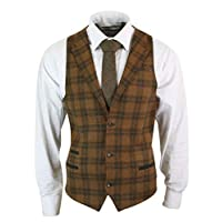 TruClothing.com Mens Waistcoat Wool Check Herringbone Tweed Brown Black Classic Vintage Fit - Olive-Wine-Trim, 48UK/58EU