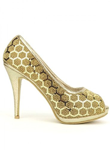 Cendriyon, Escarpin Doré Paillettes OILLS Chaussures Femme Doré