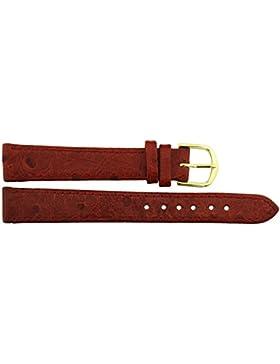 Armbanduhr lederarmband in Rot Polyurethan - 14mm - - Schnalle in Gold Edelstahl - B14RedItr68G
