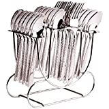 Shapes Steel Zack Cutlery Set of SPoons and Fork with Round stand, 24 Pcs (Stainless Steel, SC/ZK/24BS WITH R. STAND)