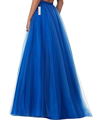 CoutureBridal® Femme Jupe Longue Jupe Maxi pour Soirée Mariage Haute Taille Tulle Rouge