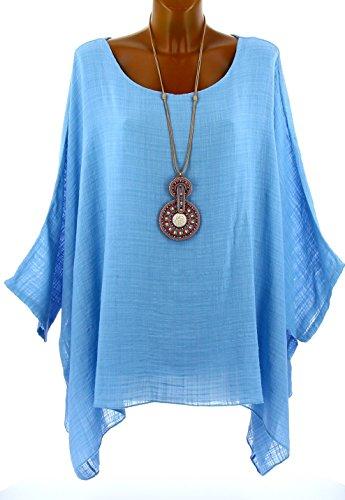 Charleselie94® - Tunique poncho été bohème grande taille bleu ciel ONDINA BLEU Bleu