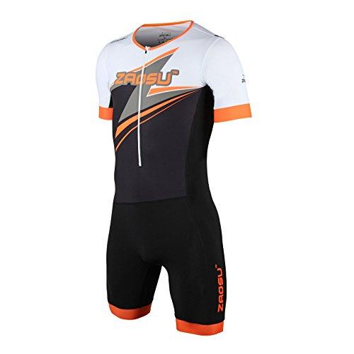 ZAOSU Herren Aerosuit - Trisuit Einteiler | Triathlonanzug mit Arm, Farbe:orange, Größe:XL