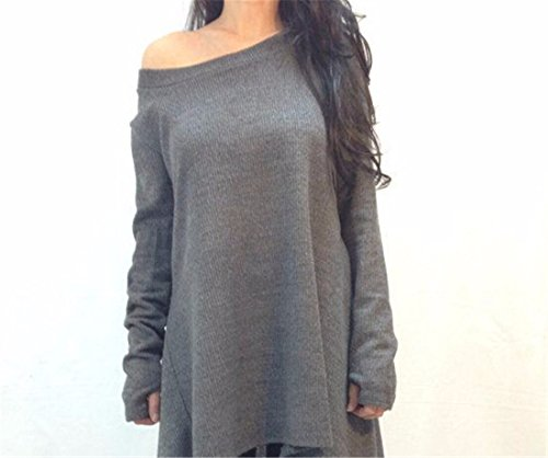 QIYUN.Z Fashion Grau Frauen Verbunden Fingern Lange Hülse Unregelmäßigen Rand T-Shirts Kleid Grau