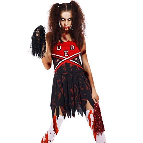 Cheerleader Kostüme Vampir (Halloween Gr.L Zombie Damen Kostuem Cheerleader Cheer Leader Karneval School Student Horror Hexe Vampir)