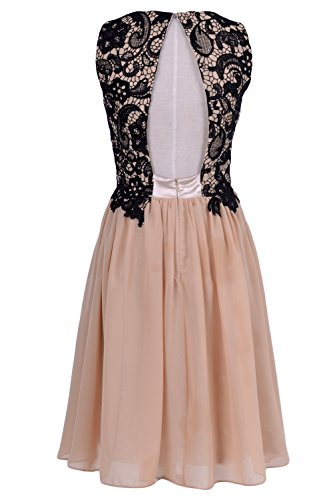 MACloth Women O Neck Lace Chiffon Short Formal Cocktail Party Dress Evening Gown Minze