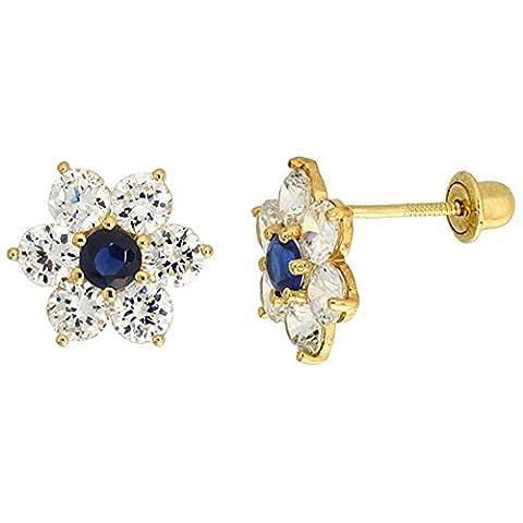 14K Or jaune 5/40,6cm (9mm) Hauteur fleur Boucles d'oreilles clous, W/Taille brillant Transparent & Bleu sapphire-colored CZ