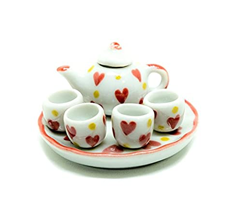 Dollhouse miniature Food,Tiny Food Collectibles ( Heart Coffee Tea Cup Set ) Enjoy Afternoon Tea on Valentine's day