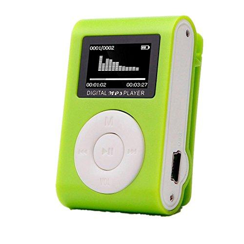 Amlaiworld Mini-LCD-Bildschirm Clip USB MP3-Player Casual Fitness sport Elektronisch geräte Lässig Urlaub Jogging Musik player Classic Tragbare Audio Zubehör Unterstützt 32GB SD TF Karte (Grün)