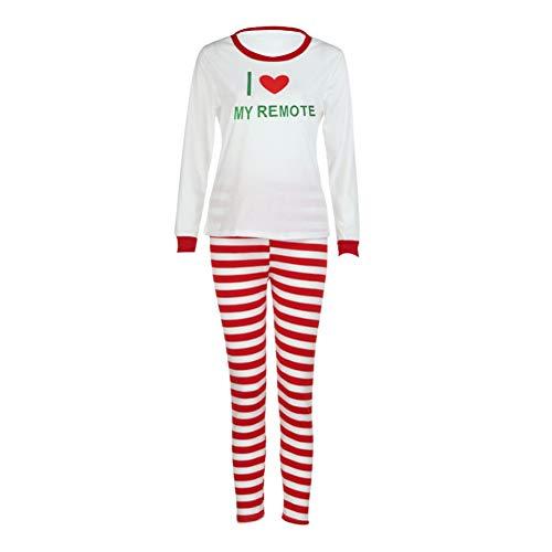 Brief Drucken Familie Passende Nachtwäsche Jungen Mädchen Langarmshirts Rot Gestreiften Pyjamas Hose Set -