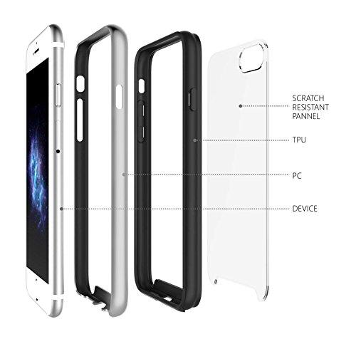 iPhone 7 Case - KHOMO Essence Luxus-Ausgabe Bumpern Case mit kristallklarer Rückwand Ultra Slim Hülle mit kompletten Schutz fur dein neue Apple iPhone 7 - Dunkelgrau Silber
