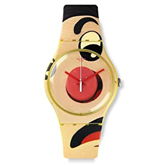 Swatch peligroso Lies Multicolor Color Beige Dial Amarillo silicona Mens Reloj suoj103