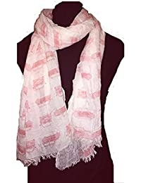 Cream with peach Mini Cooper car design scarf long scarf with frayed edge
