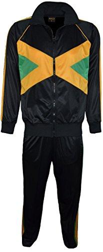 Da uomo Bandiera giamaicana tuta Set Top con colletto elastico in vita pantaloni Black