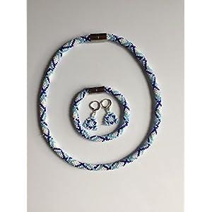 Perlenschmuckset Geometrie blau-weiß