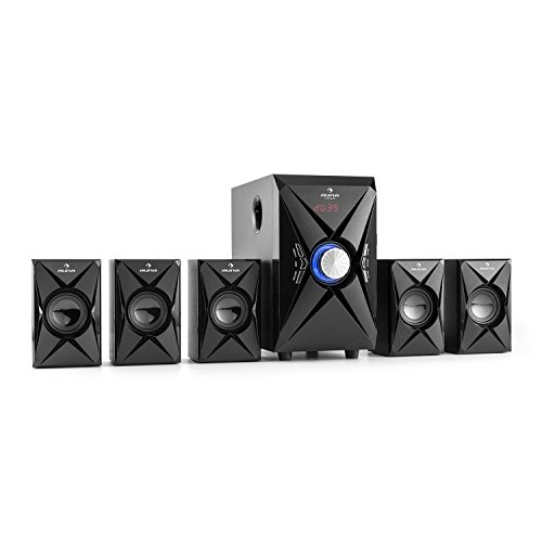 auna X-Plus Heimkinosystem • 5.1 Surround Sound System • 70 Watt RMS • Pro Logic Modus • Bluetooth • UKW Radio-Tuner • LED-Display • USB-Port • SD-Karte • MP3 Player • AUX-Eingang • Fernbedienung • schwarz