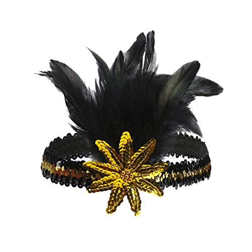 COZOCO Damen Elegante Retro Party Kopfschmuck Mode Feder Pailletten Strass Stirnband Frauen Mädchen Party Hochzeit Karneval Haarschmuck(Gelb-1) -