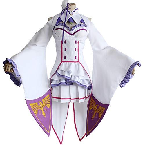 RL Japanische Anime re: Null Kara Hajimeru isekai Seikatsu Emilia Erwachsene weibliche kostüm Cosplay,Full Set-M (Top Halloween Kostüme Paar 2019)