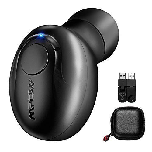Mpow auricolare mini singolo invisible con microfono bluetooth 4.1 per iphone, samsung, huawei, nero