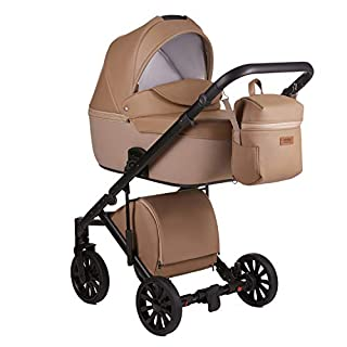 Anex Baby Cross 3 in 1 Kombi-Kinderwagen Eco-Leather (Beige Cr05)