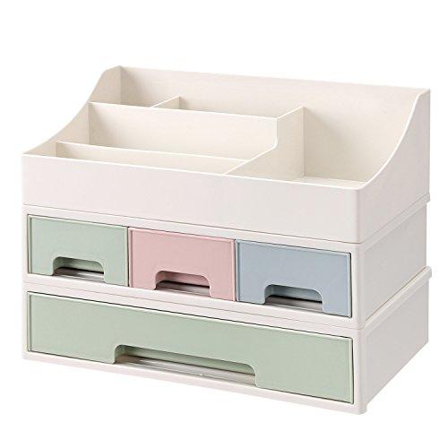 SONGMICS 3-in-1 Make up Organizer Kosmetik Aufbewahrung mit 4 Schubladen stapelbar aus Kunststoff...