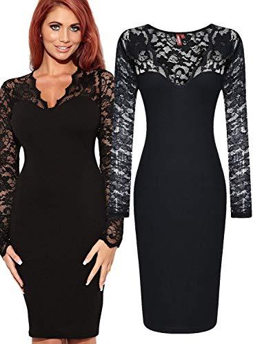Miusol Damen elegant Abendkleid Spitzen V-Ausschnitt Cocktail Ballkleid Langarm Kleid schwarz/Weiß Gr.34-46 (EU 46 (XXL), Schwarz) - 4