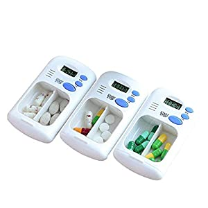 Dr.Taylor 2 Grids Pill Organizer, 3Pcs Tragbare Pill Reminder Box Mit Timer Alarm, Digital LCD Travel Medicine Reminder Fall