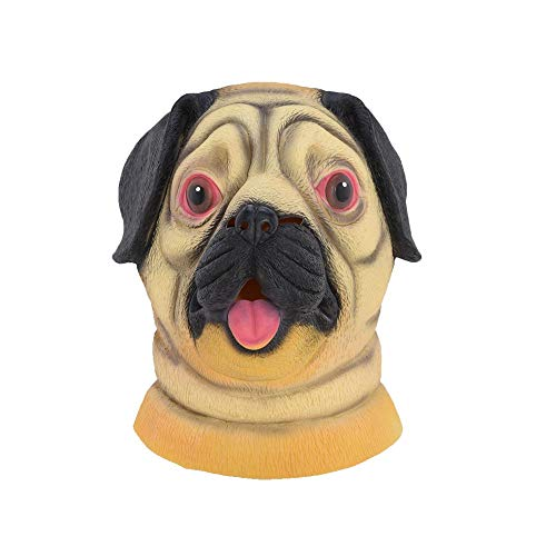 Zorux - Halloween Mops Hund Latex Maske Neuheit Kostüm Party Fasching Tiermasken (Hollow Ichigo Kostüm Mit Maske)