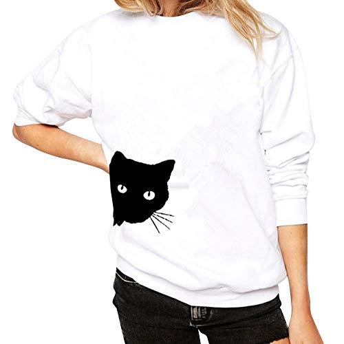 Ihengh t-shirt da donna a maniche lunghe con stampa gatto felpa manica lunga moda casual camicetta moda fashion ragazza primavera estate(bianco,x-large)