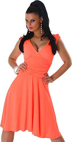 Dress abito con scollo a V di lunghezza di larghezza cinghie del ginocchio delle donne Jela London 38,40,42,44 albicocca