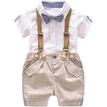 Jimmackey 2Pcs Bambino Ragazzo Camicia Bowknot Cravatta T-Shirt Cime +  Bretelle Pantaloncini Abiti Set 4d8c3ab8755