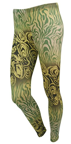 Lady Impression Paon de cheville Legging jaune/vert