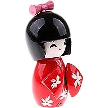 MagiDeal Carino Fatto A Mano Orientale Giapponese Kokeshi Ragazza Bambola Regalo Arredamento In Legno - Rosso
