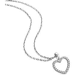 Orovi Bijoux Femme, Collier Coeur en Or Blanc avec Diamants coupé Brillant 0.12 Ct 9 Kt/375 Or Chaîne 45 Cm