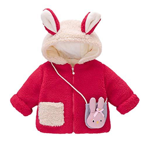 Deloito Kleinkind Baby Baumwolljacke Kinder Jungen Mädchen Outwear Cartoon Plüsch Wintermäntel Dicker Kapuzen Umhangjacke Fleece Schneeanzug (Rot-B,0-12 M)