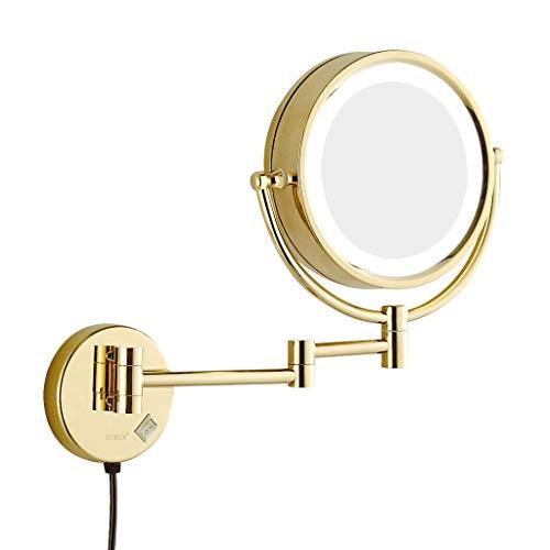 ALYR Beleuchtete Schminkspiegel, an der Wand befestigte LED-Eitelkeits-Spiegel doppelseitiger Vergrößerungs-Schönheits-Spiegel für Das kosmetische Rasieren,Gold_10X (Gold-eitelkeit-wand-spiegel)
